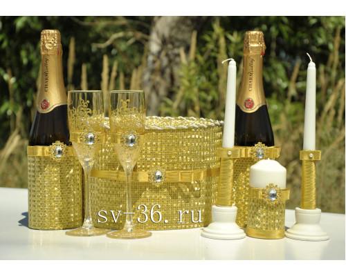 Набор свадебных аксессуаров в золоте (8 предметов) N-4