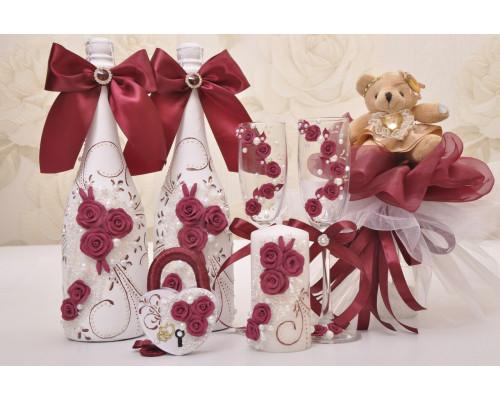 Набор свадебных аксессуаров (9 предметов) N-16