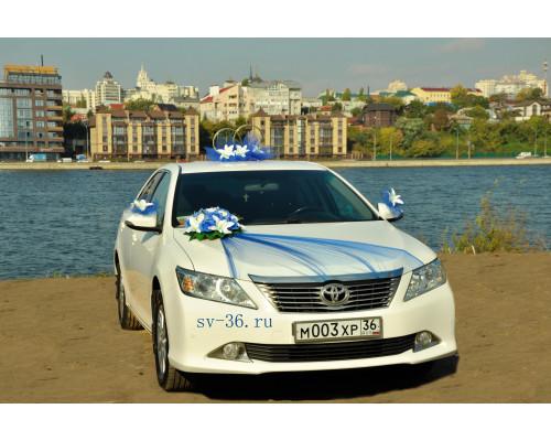 """Свадебное украшение на машину в синем цвете """"Туман"""""""