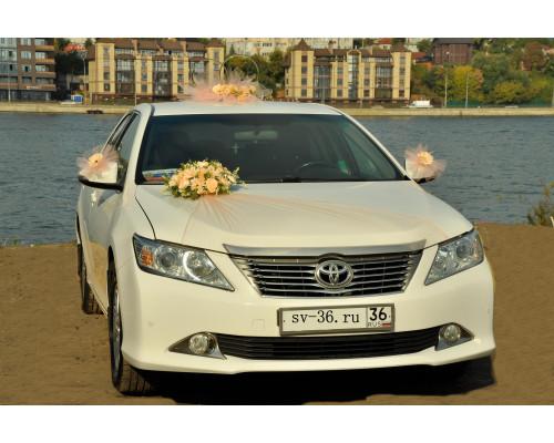 """Свадебное украшение на машину в персиковом цвете """"Туман"""""""