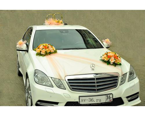 """Украшение на свадебную машину в персиковом цвете """"Дуэт"""""""