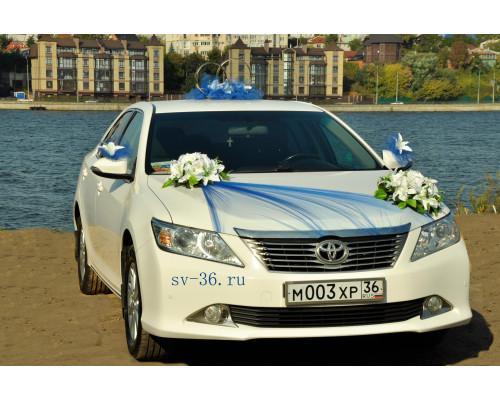 """Свадебное украшение на машину в синем цвете """"Дуэт"""""""
