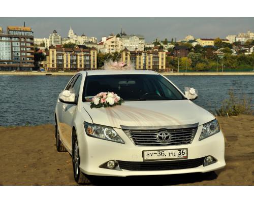 """Свадебное украшение на машину в пудровом цвете """"Туман"""""""