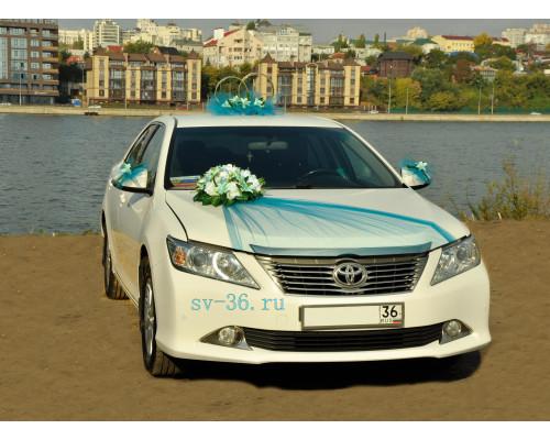 """Свадебное украшение на машину в бирюзовом цвете """"Туман"""""""